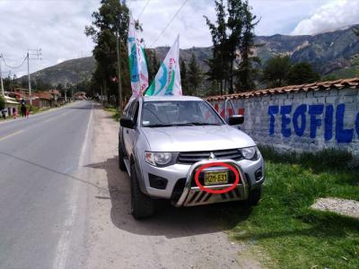 constructora que contrata con municipio de Chimbote pinta la propaganda de Victoria Espinoza